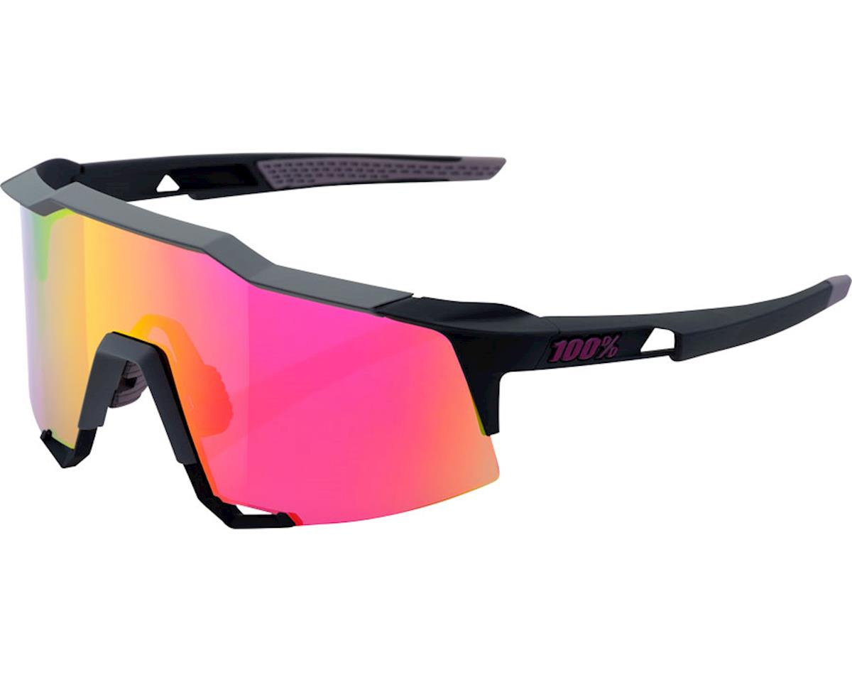 100% Speedcraft Sunglasses: Soft Tact Graphite Frame with Purple Multilayer Mirr