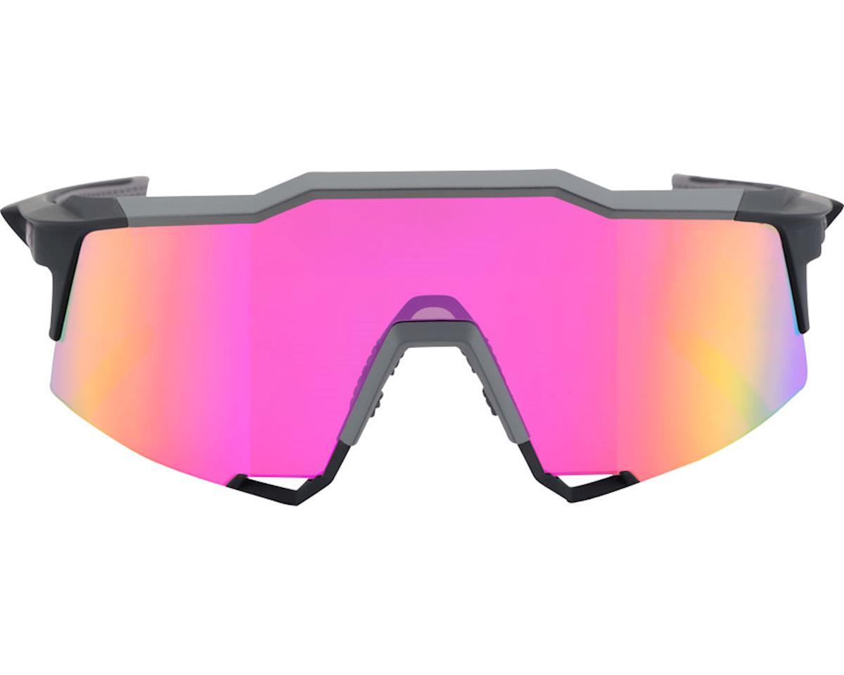 100% Speedcraft Sunglasses: Soft Tact Graphite Frame with Purple Multilayer Mirr