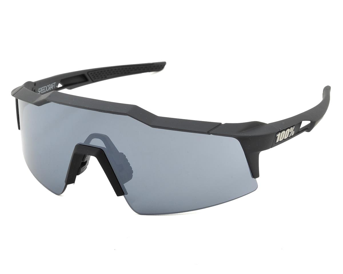 100% SpeedCraft Sunglasses (Gun Metal) (Short Silver Mirror)
