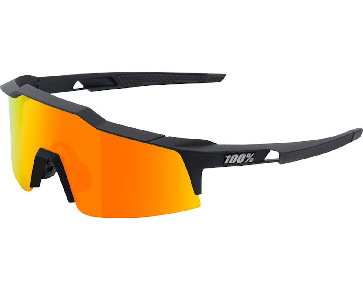 100% Speedcraft SL Sunglasses: Soft Tact Black Frame with HiPER Red Multilayer M