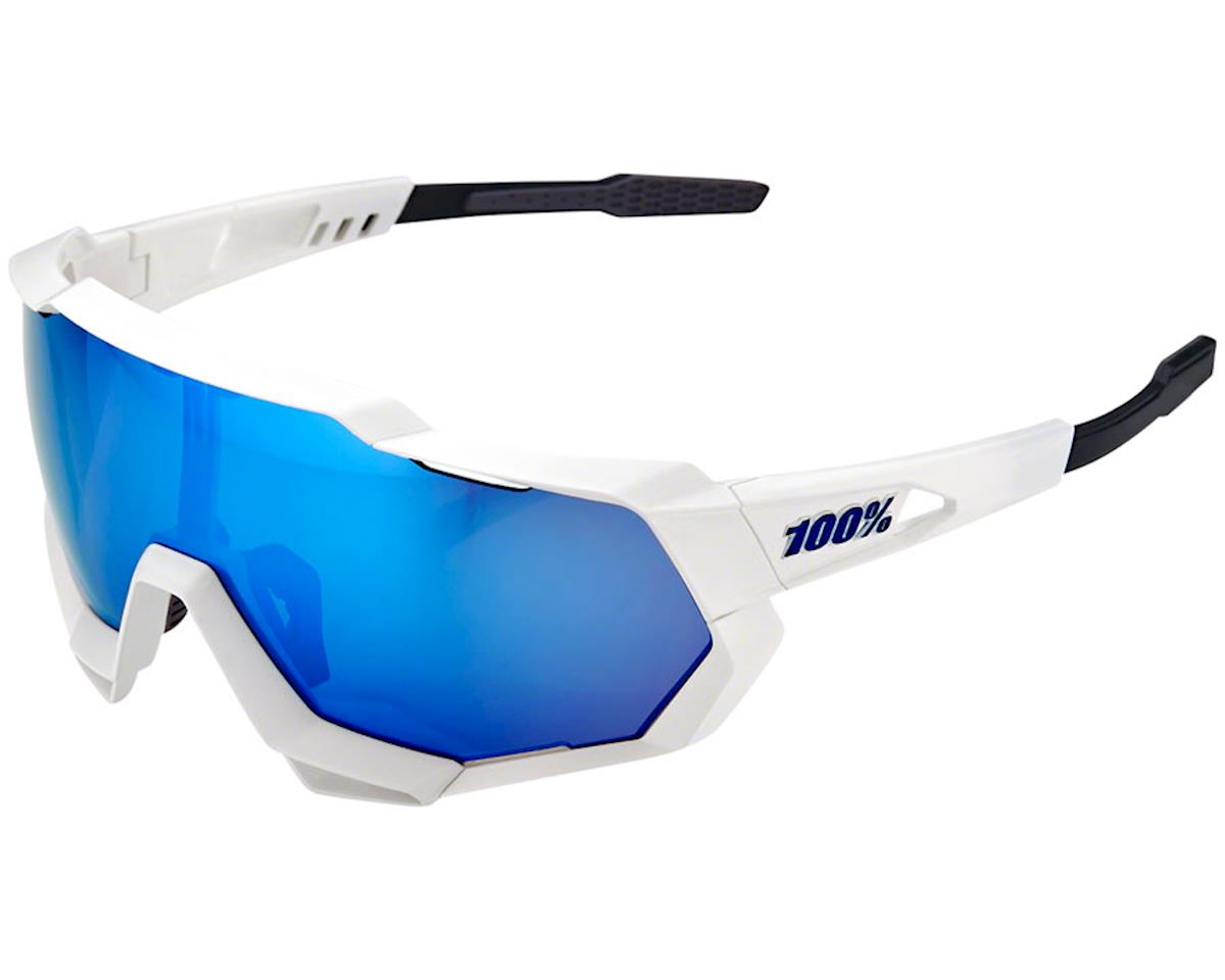 100% Speedtrap Sunglasses (Matte White) (HiPER Blue Mirror)