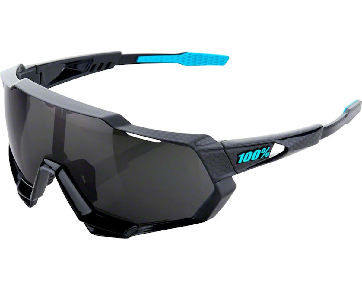 100% Speedtrap Sunglasses: Polished Black Graphic Frame with Black Mirror Lens,