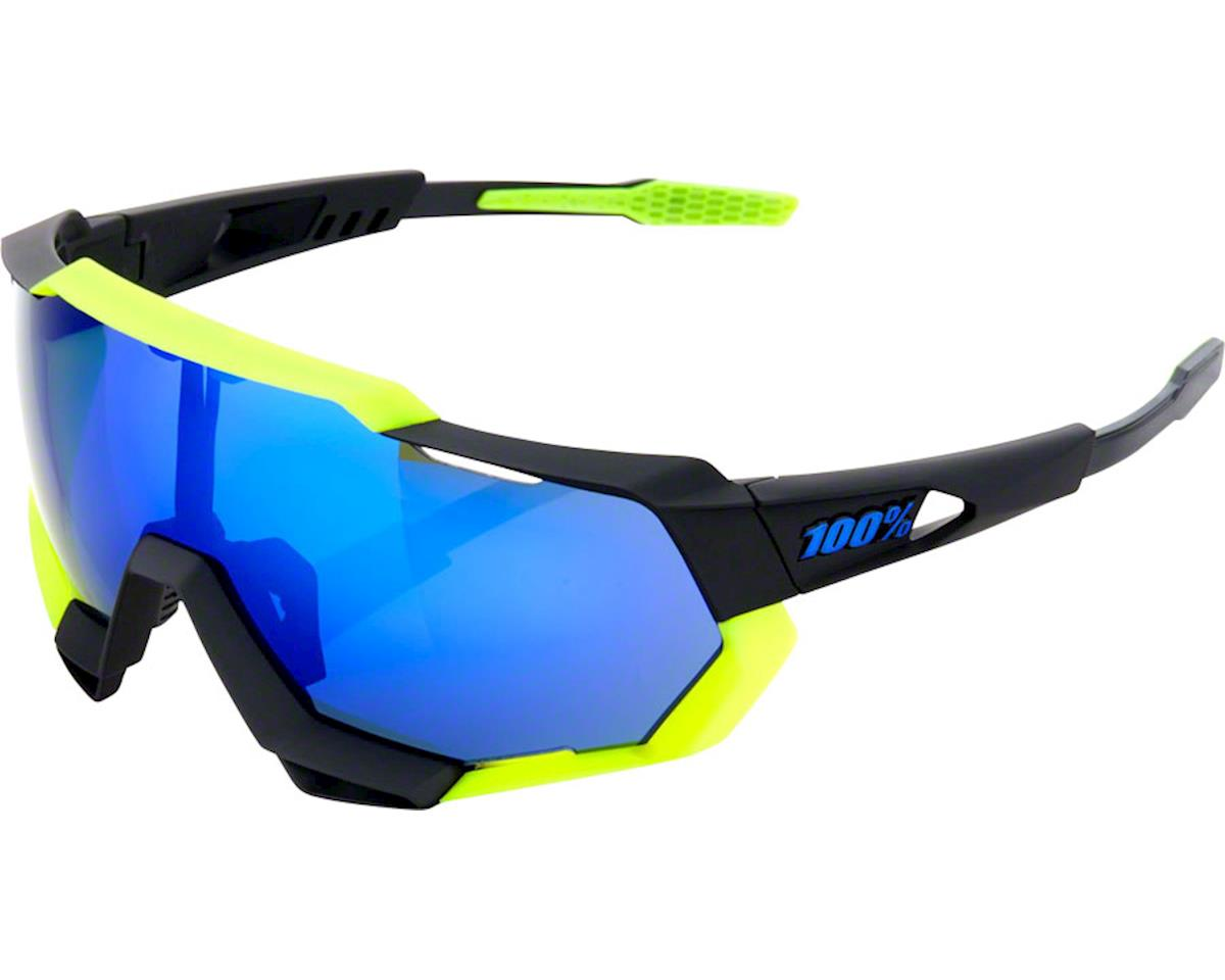 100% Speedtrap Sunglasses: Polished Black/Neon Yellow Frame with Electric Blue M