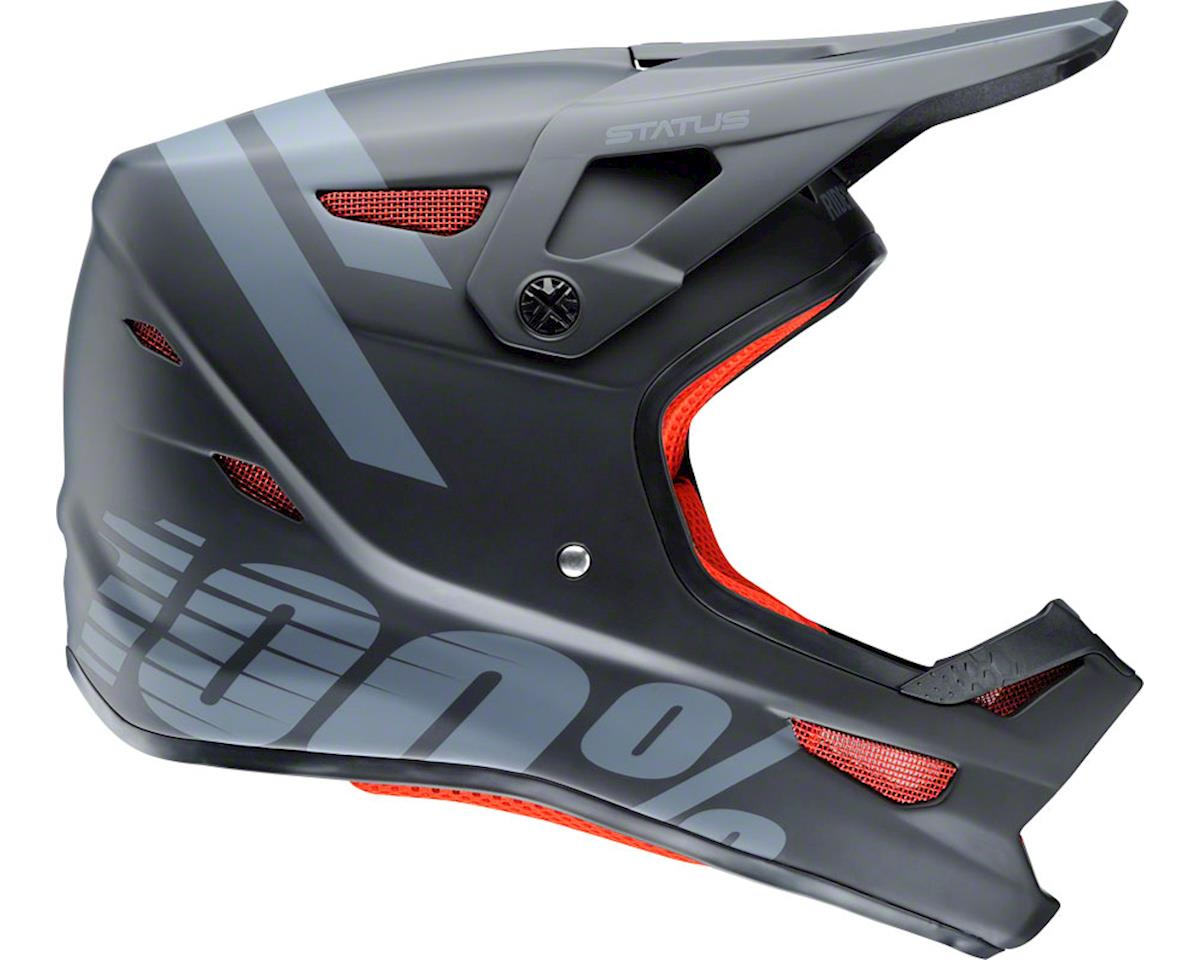 100% Status Full-Face Helmet: Black Meteor XL