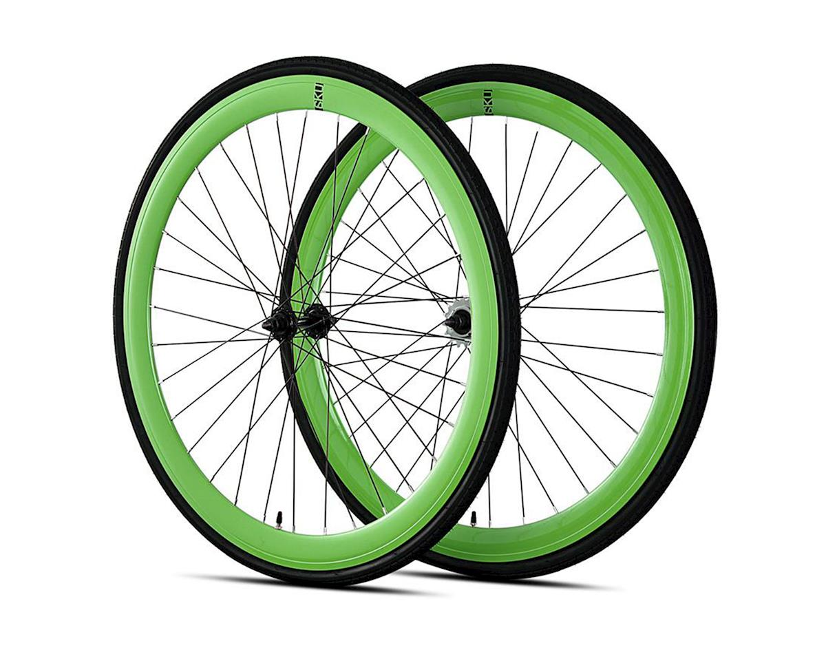 6KU Deep V Single-Speed/Fixed Wheelset (Gloss Neon Green)