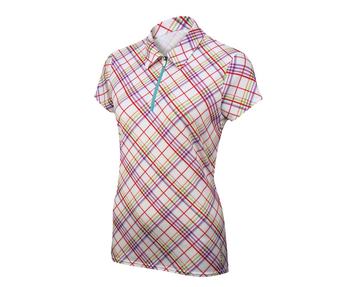 Alexander Julian Women's Argyle Plaid Short Sleeve Jersey (Wh/Pur)