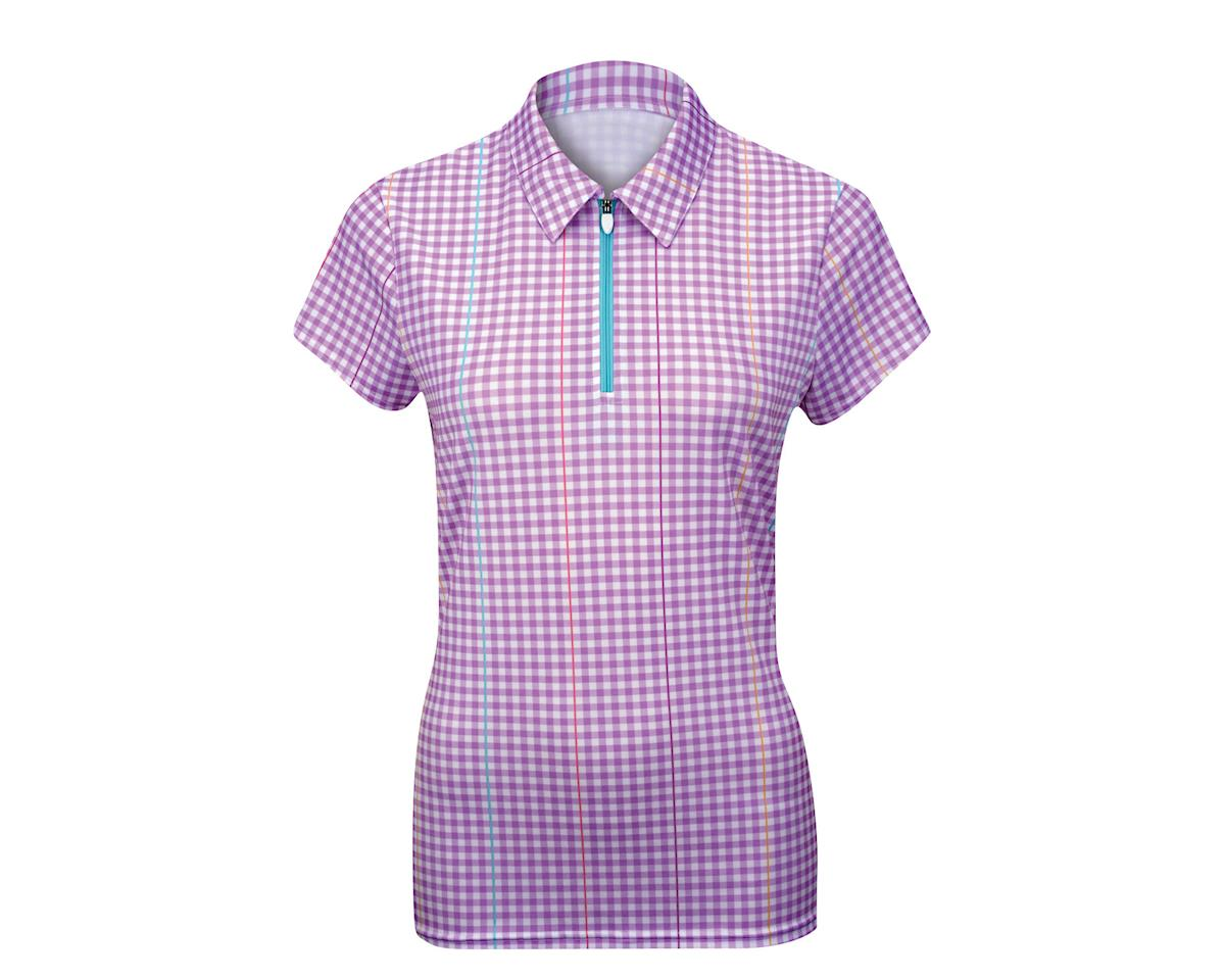 Alexander Julian Women's Gingham Plaid Short Sleeve Jersey (Purple)
