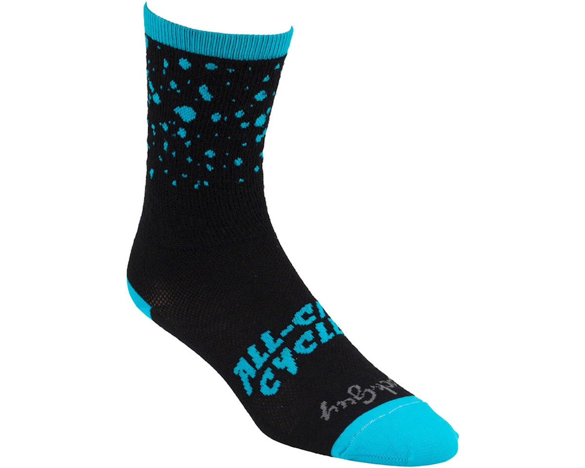 All-City Electric Boogaloo Wool Sock: Black/Blue LG/XL