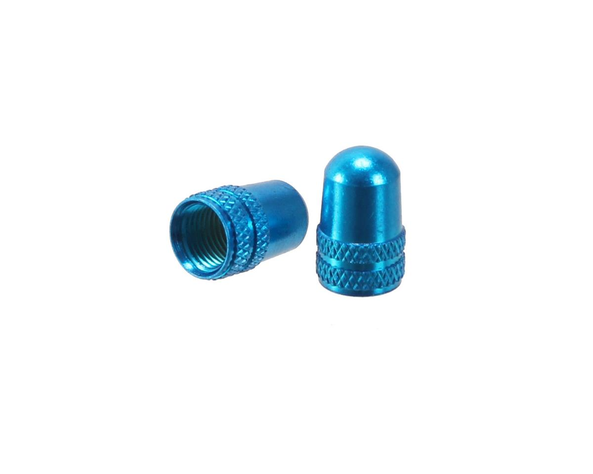 Alligator Alloy valve cap, Schrader, blue - pair