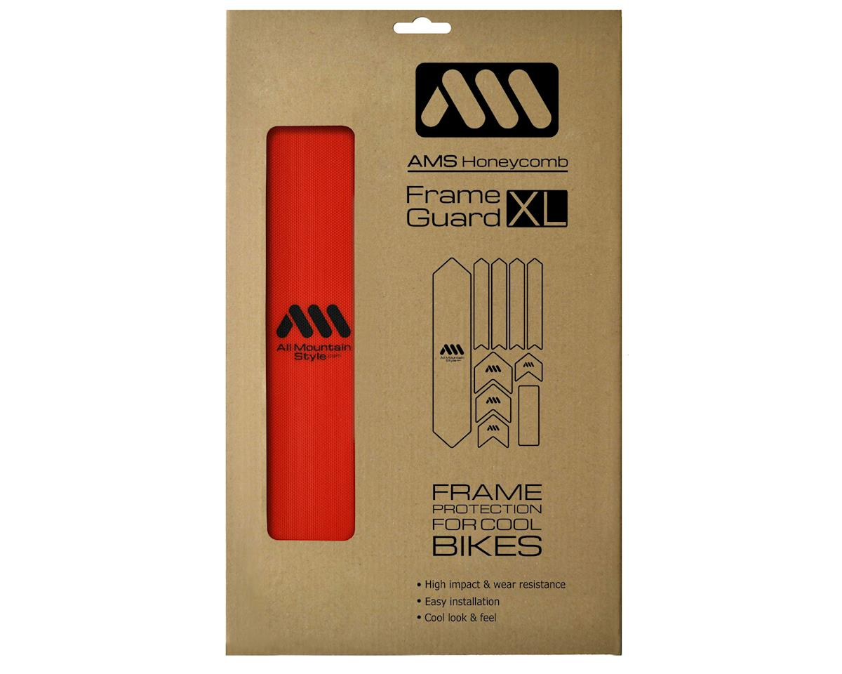 All Mountain Style HONEYCOMB MTB Frame Guard Protection Stickers RED//BLACK XL