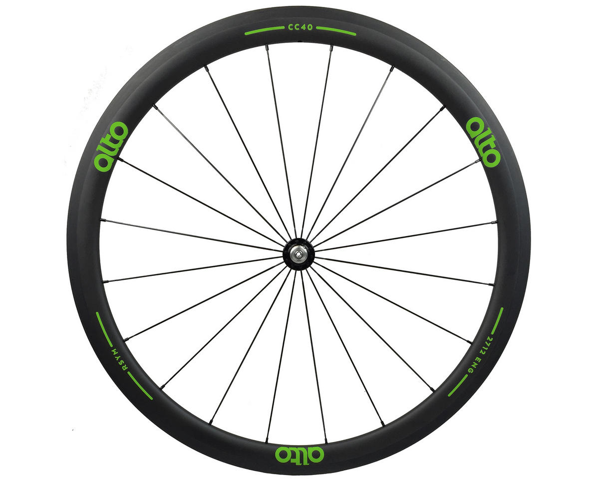 CC40 Carbon Front Clincher Road Wheel (Green)