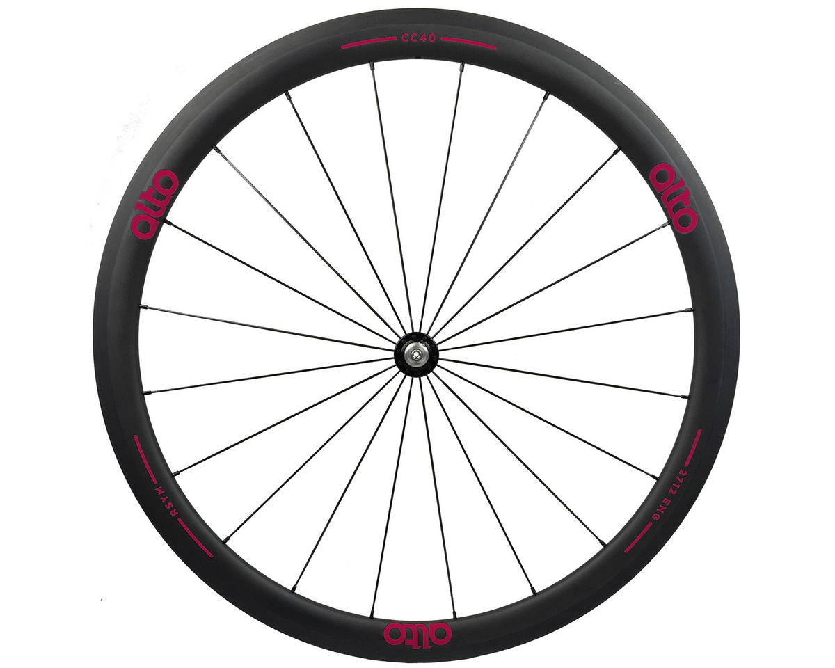 CC40 Carbon Front Clincher Road Wheel (Pink)