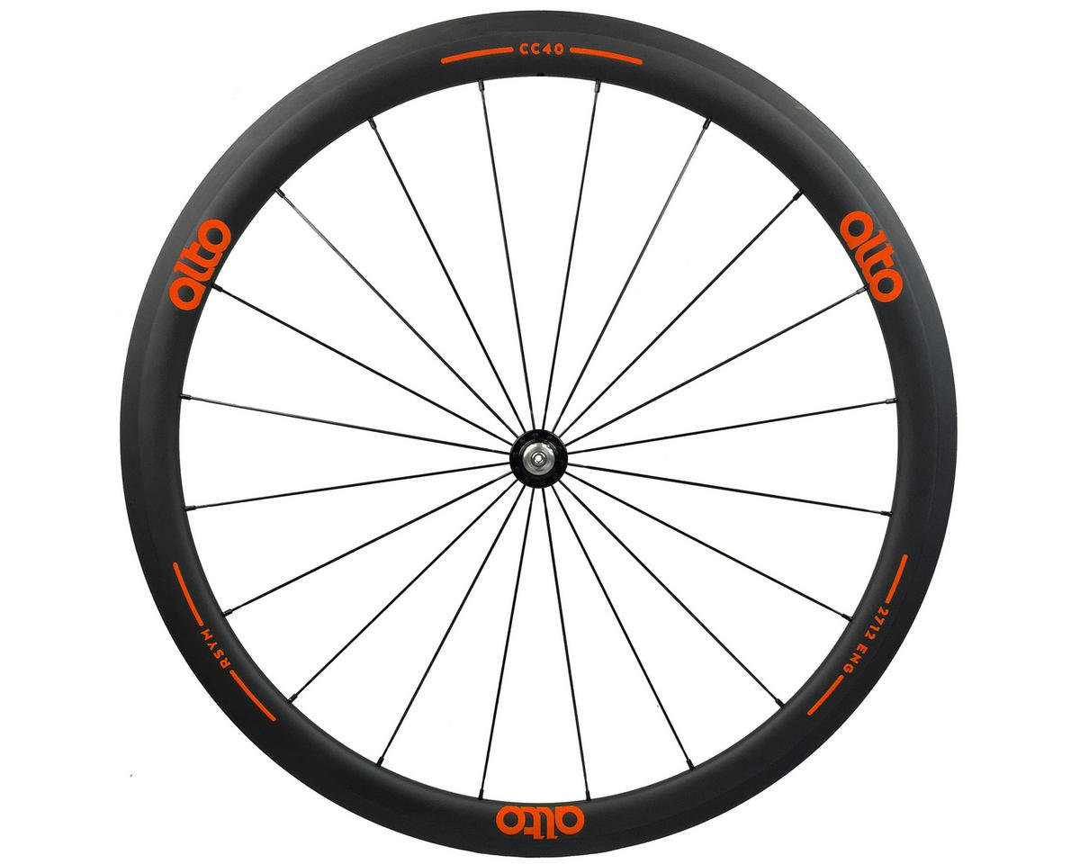 Alto Wheels CT40 Carbon Front Road Tubular Wheel (Orange)