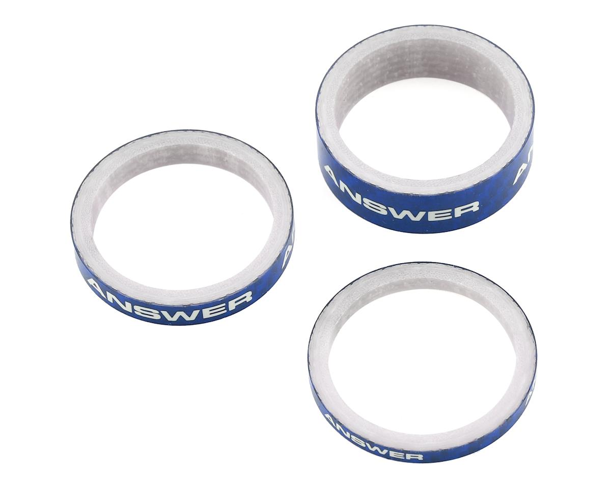 """Answer Bmx Carbon Headset Spacers 3 Pack 1/"""" Blue"""