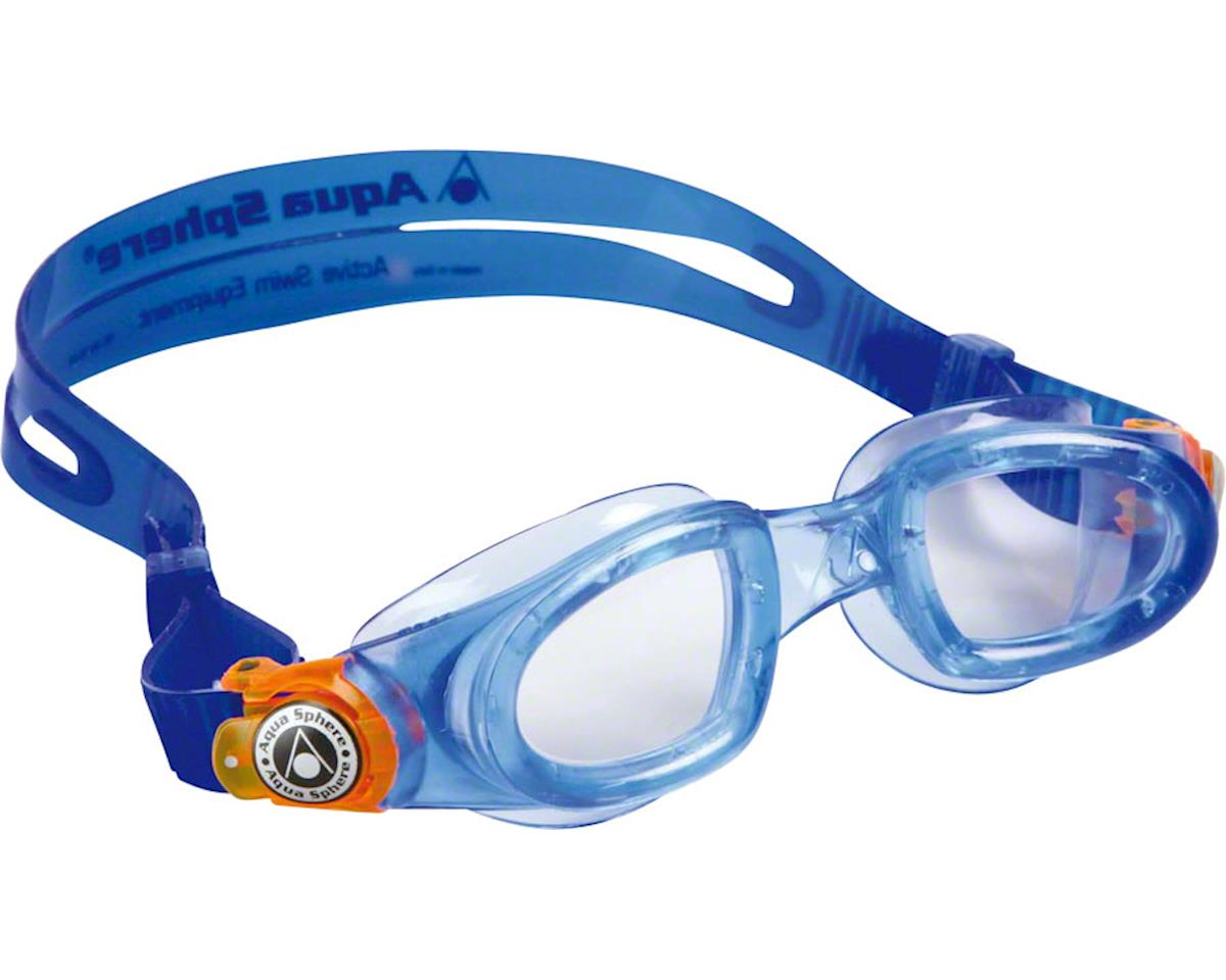 Aqua Sphere Moby Kid Goggles: Blue/Orange with Clear Lens