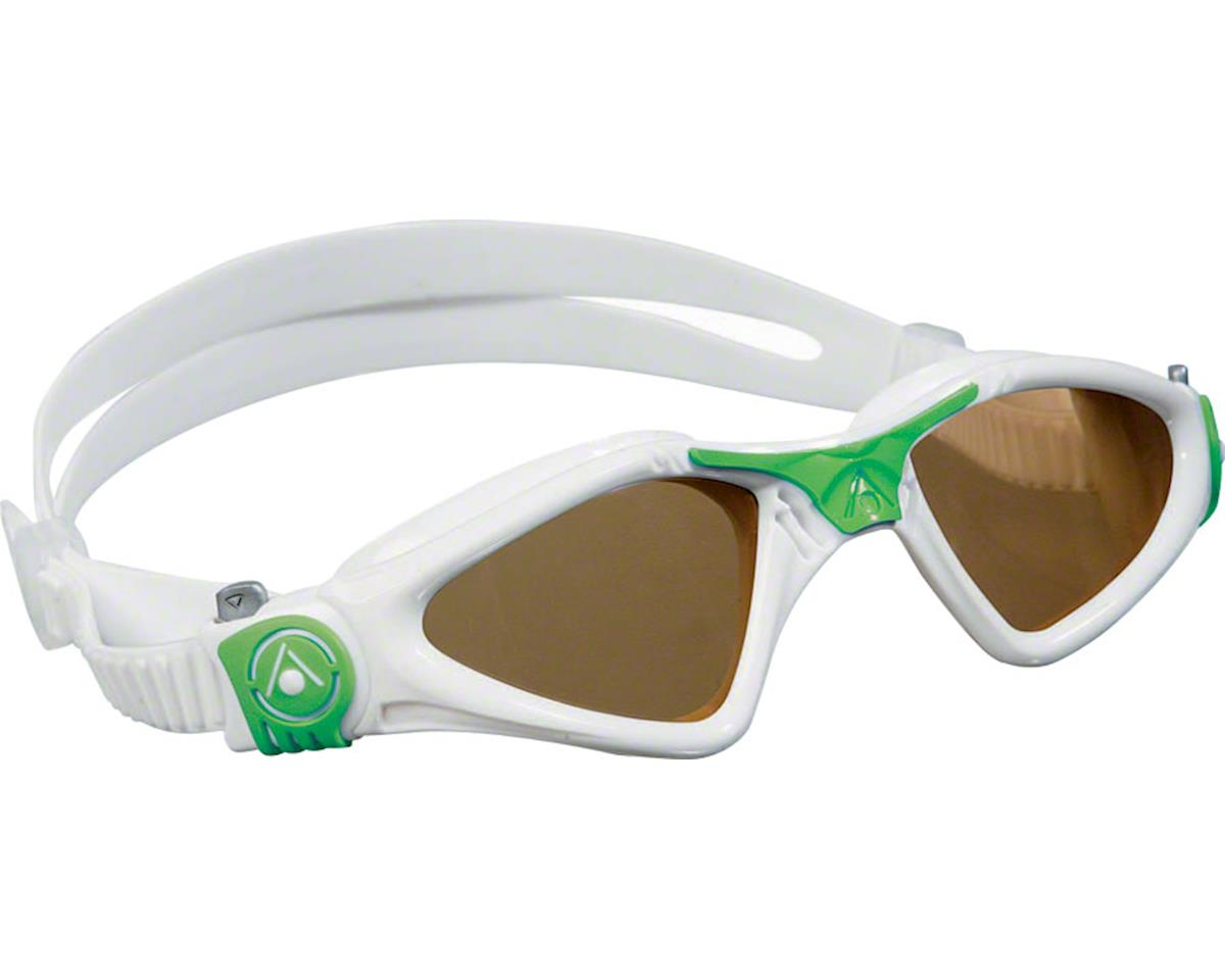 Aqua Sphere Kayenne SF Goggles: White/Green with Polarized Lens
