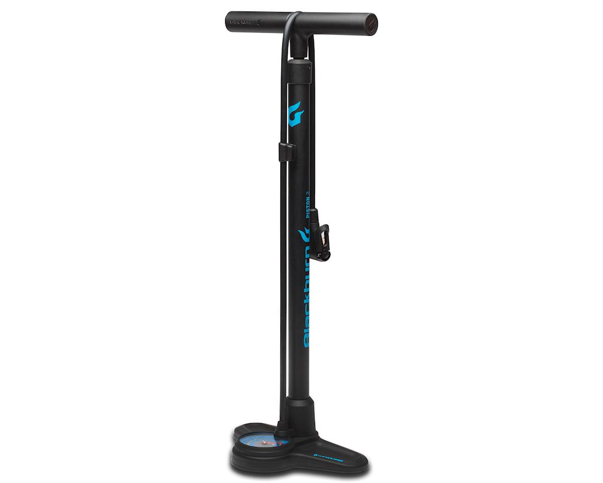 Blackburn Piston 2 Floor Pump (Matte Black/Cyan)