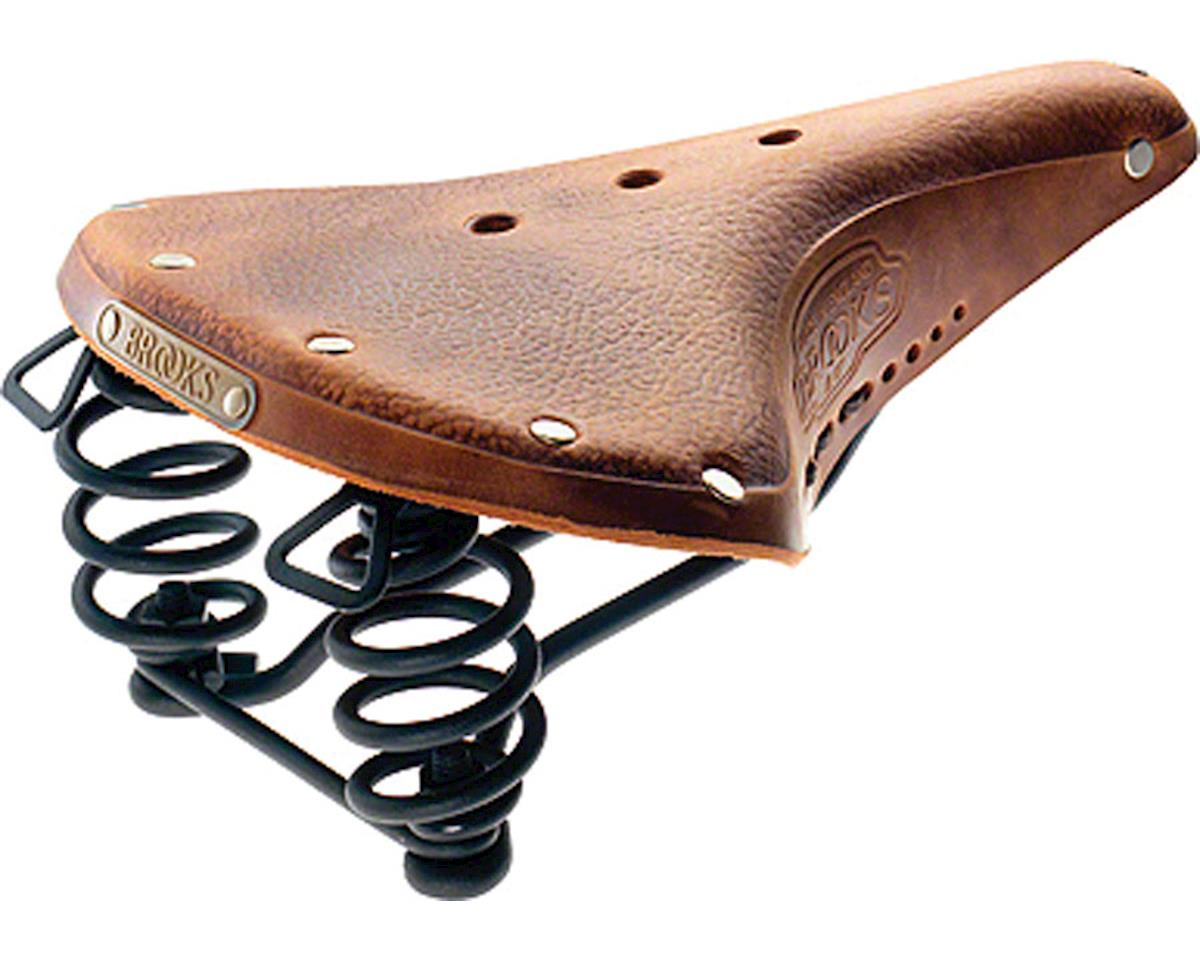 B67 Men's Saddle Aged Dark Tan with black steel rails and springs