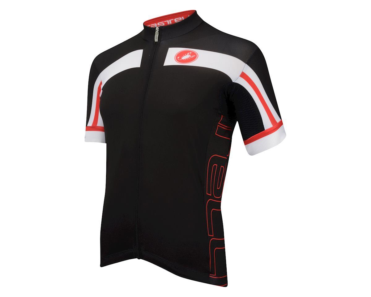 Castelli Free Aero Race 4 Short Sleeve Full Zip Jersey (Black/Red)