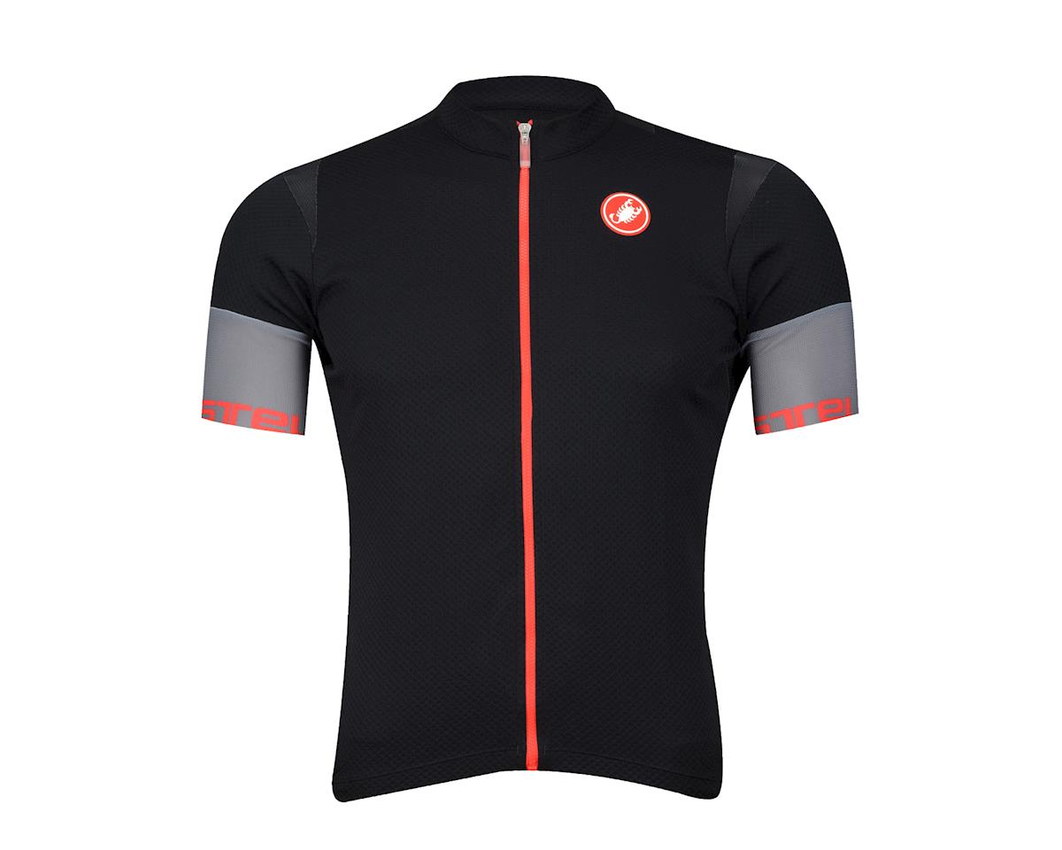 Castelli Entrata 2 FZ Short Sleeve Jersey (Black/Red)