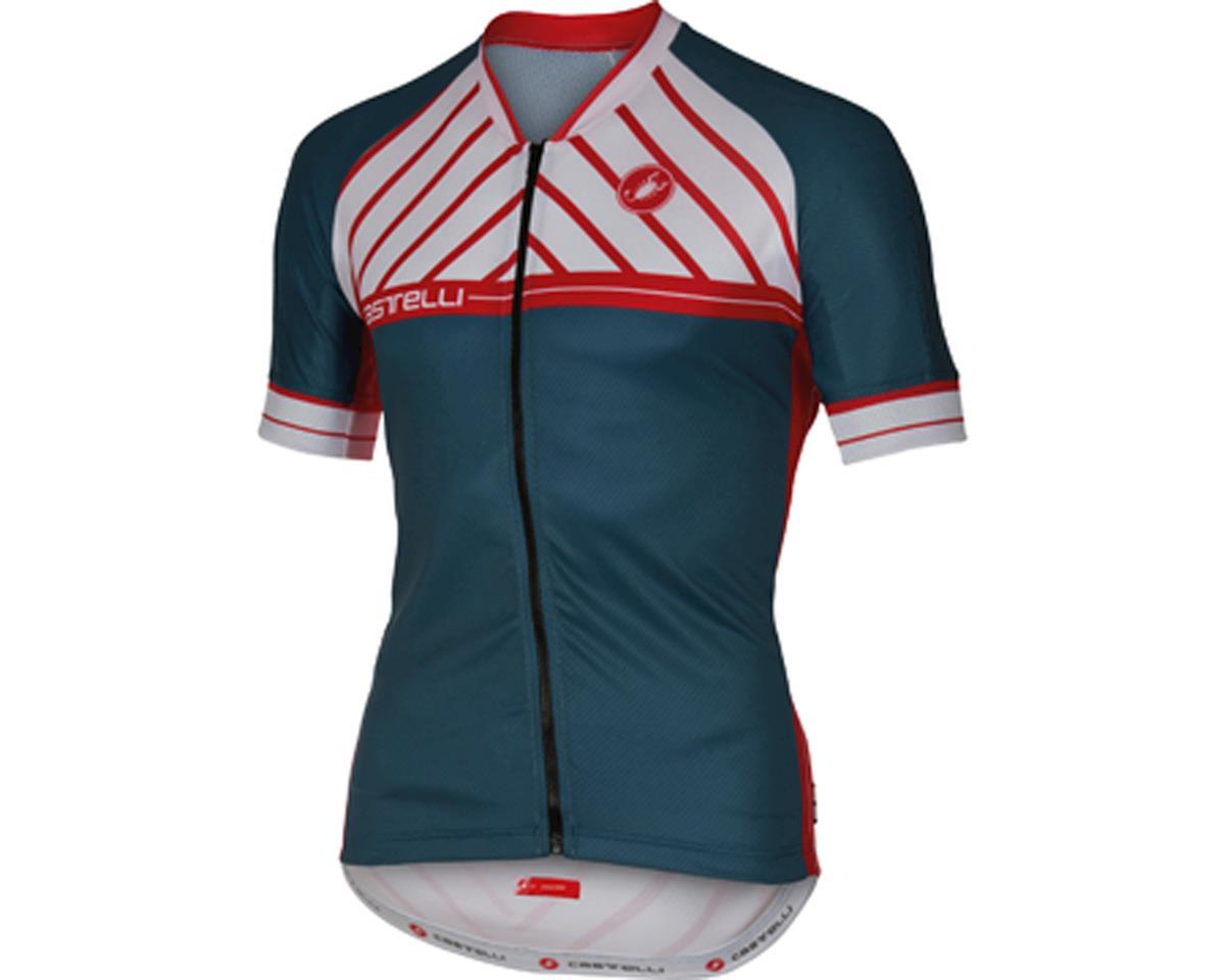 Castelli Scotta FZ Short Sleeve Jersey (Matte Blue/White)