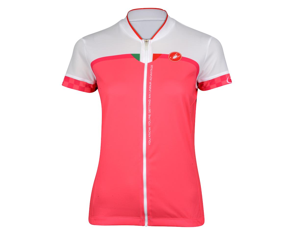 Castelli Women's Duello Short Sleeve Jersey (White/Pink)