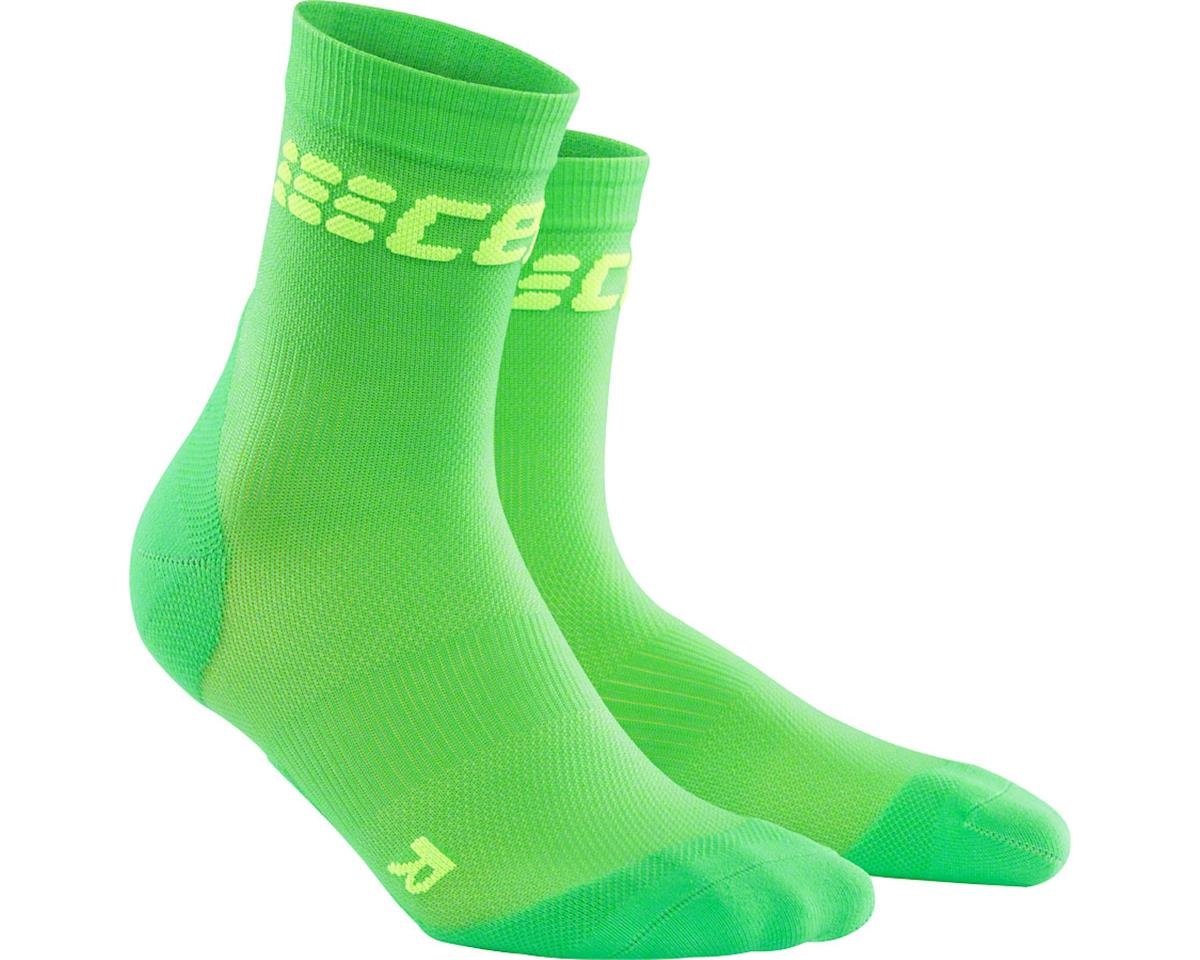 CEP Dynamic+ UltraLight Short Men's Compression Sock: White/Green V (L)