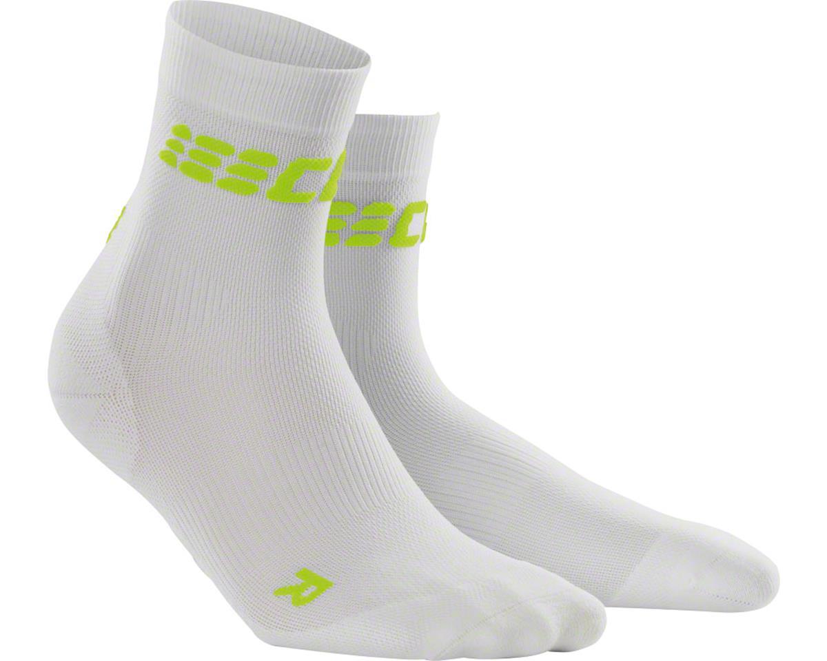 CEP Dynamic+ UltraLight Short Men's Compression Sock: White/Green V (L)
