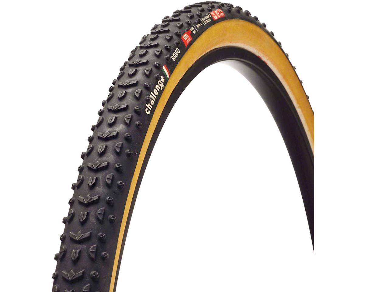 Challenge Grifo Pro Tire: Handmade Clincher, 700x33, 300tpi, Black/Tan
