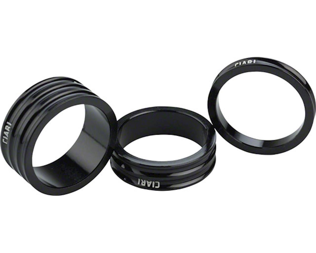 "Ciari Anelli 1-1/8"" Headset Spacers Black 5mm, 10mm and 15mm Spacer Kit"