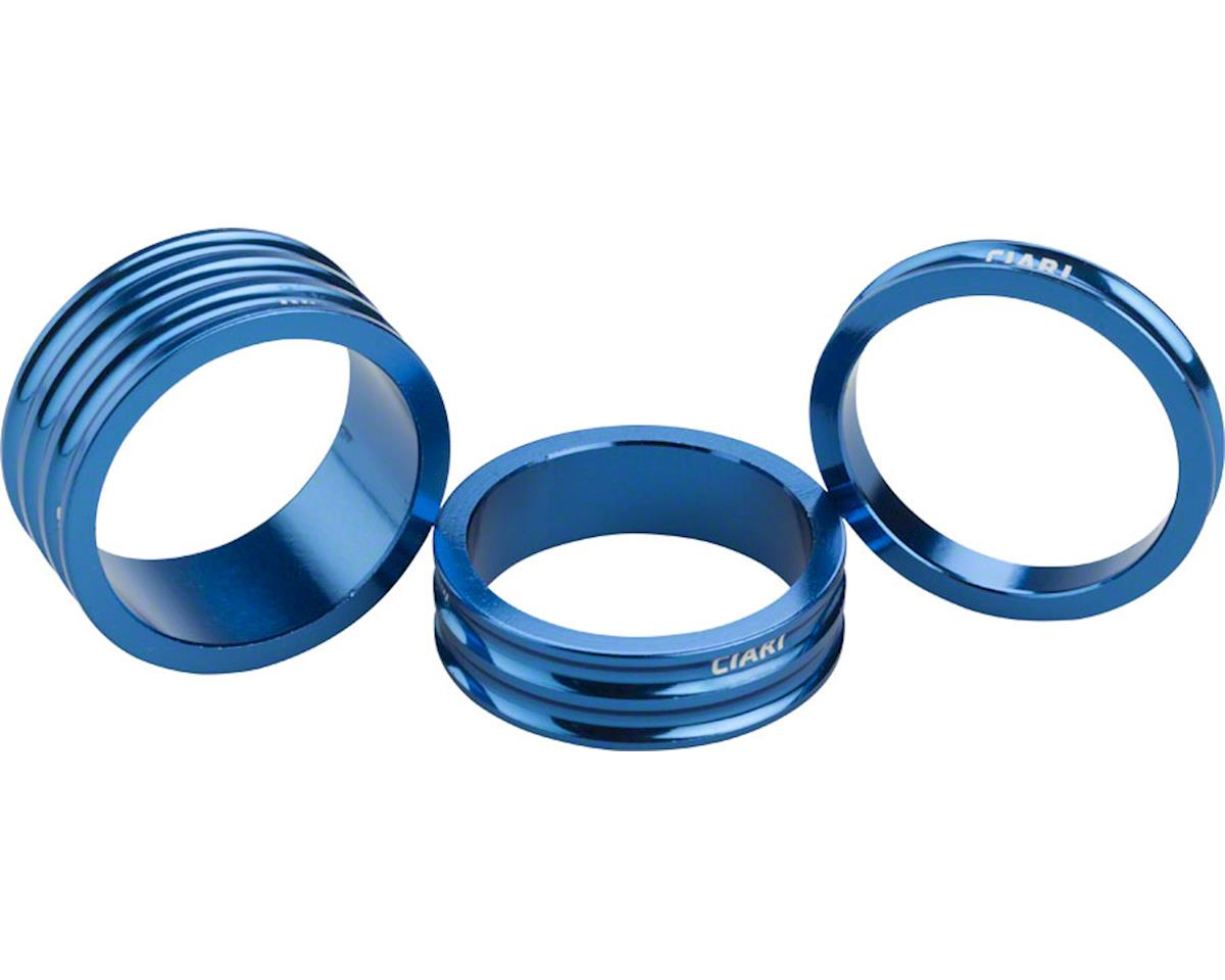 "Ciari Anelli 1-1/8"" Headset Spacers Blue 5mm, 10mm and 15mm Spacer Kit"