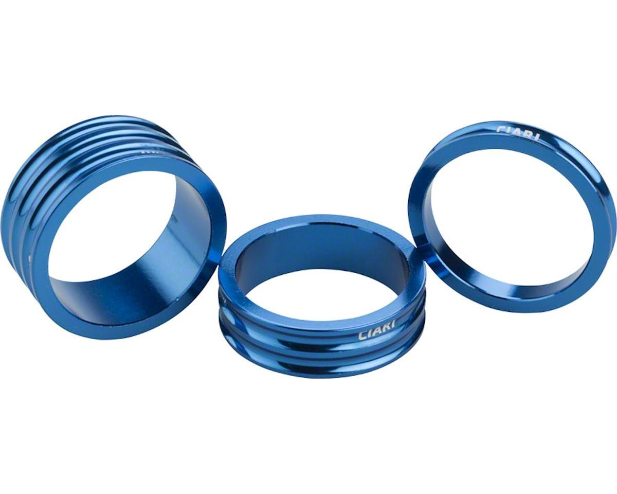 """Ciari Anelli 1-1/8"""" Headset Spacers Blue 5mm, 10mm and 15mm Spacer Kit"""