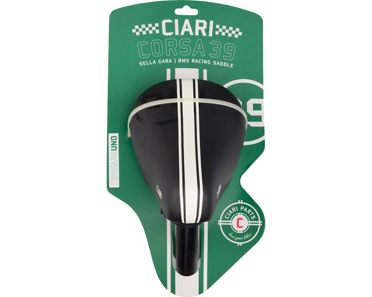 Ciari Corsa 39 Uno Mini Seat with 22.2mm Seatpost Black with White Stripes
