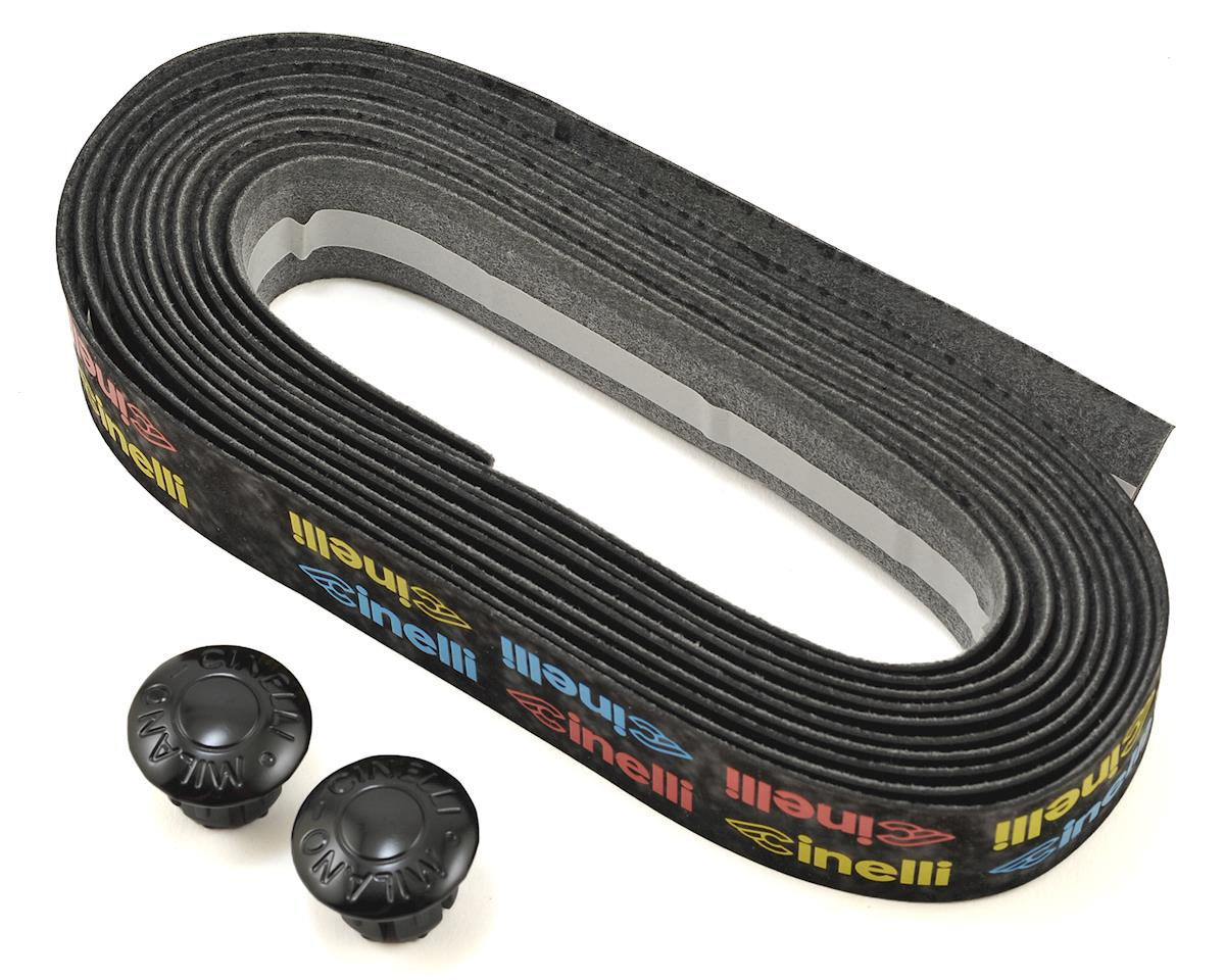 Cinelli Logo Velvet Ribbon Handlebar Tape (Black/Multi Color Logo)