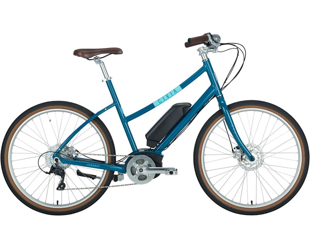 "Civia Parkway Step-Thru Complete ebike: 26"" Dark Teal X-Small"