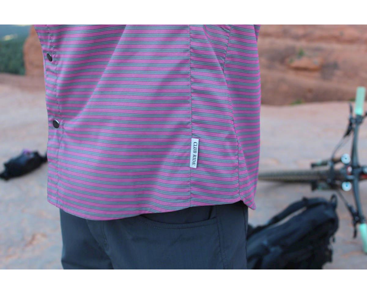 Club Ride Apparel Men's Vibe Short Sleeve Shirt (Merlot Stripe) (M)