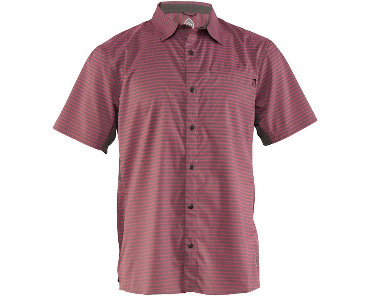 Club Ride Apparel Men's Vibe Short Sleeve Shirt (Merlot Stripe) (S)