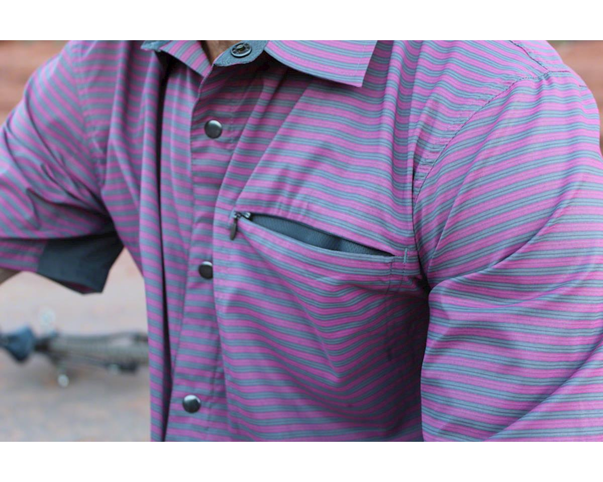 Image 4 for Club Ride Apparel Men's Vibe Short Sleeve Shirt (Merlot Stripe) (S)