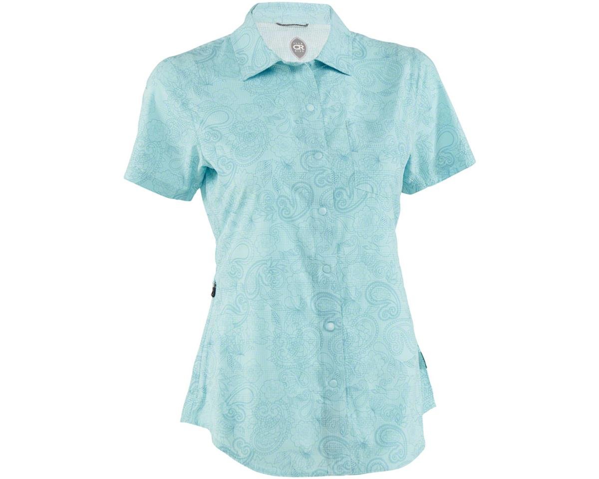 Club Ride Apparel Women's Camas Short Sleeve Jersey (Angel Blue Print) (XL)