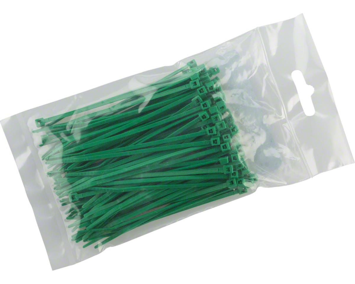 "Cobra Products Cobra Ties 6"" x 18lb (155 x 2.5mm) Miniature Zip Ties, Green, Bag of 100"
