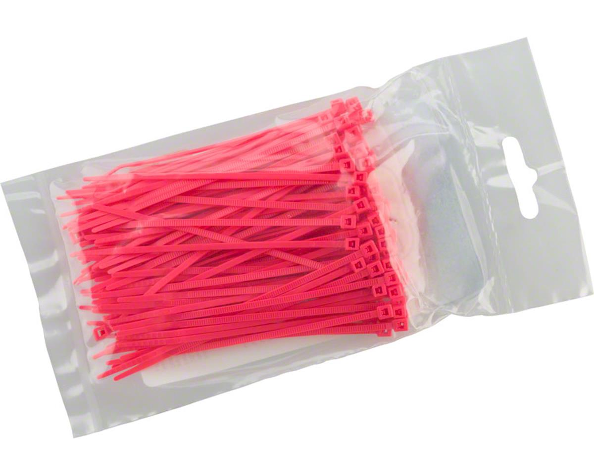 "Cobra Products Cobra Ties 6"" x 18lb (155 x 2.5mm) Miniature Zip Ties, Fluoresent Pink, Bag of 1"