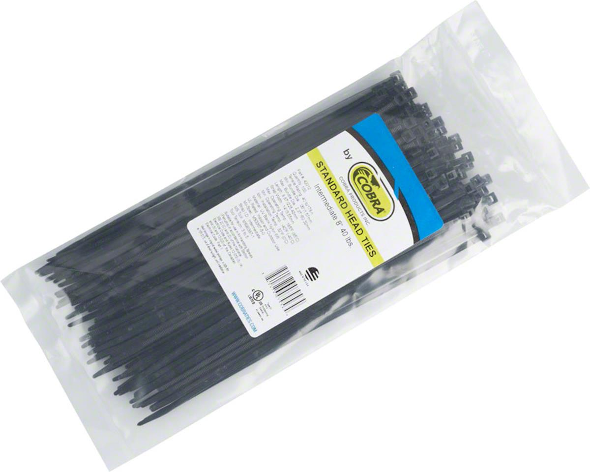 "Cobra Products Cobra Ties 8"" x 40lbs (205 x 3.5mm) Intermediate Zip Ties, Black, Bag of 100"