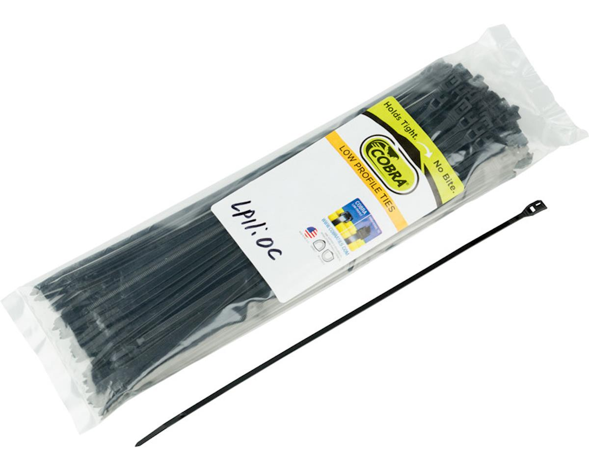 "Cobra Products Cobra Ties 11"" x 45lb (280 x 3.5mm) Low Profile Cobra Ties, Black, Bag of 100"
