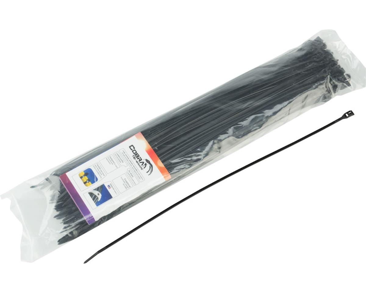 "Cobra Products Cobra Ties 14"" x 45lb (370 x 3.5mm) Low Profile Cobra Ties, Black, Bag of 100"