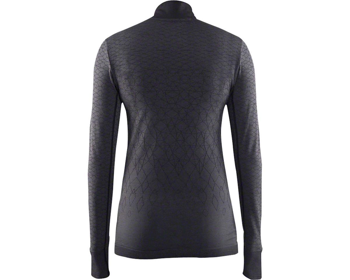 Craft Wool Comfort Women's Zip Long Sleeve Top: Black LG (M)