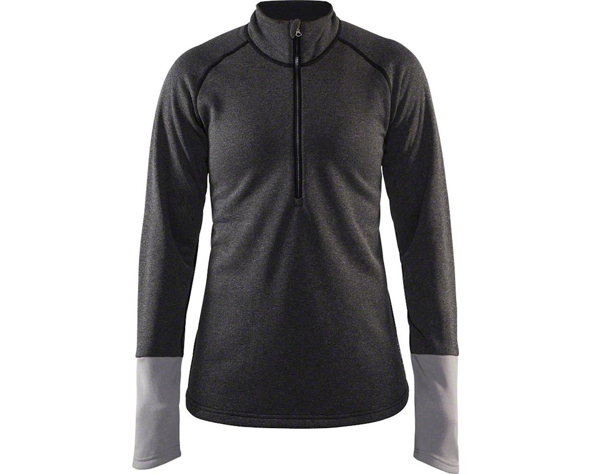 Craft Spark Women's Mid Layer Half Zip Top: Black Melange/Gray Melange SM