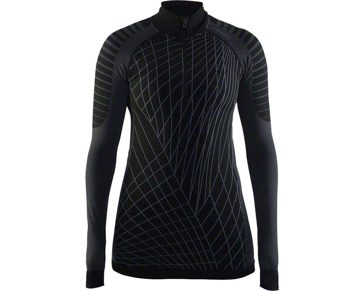 Craft Active Intensity Women's Base Layer Zip Neck Top: Black/Granite LG (M)