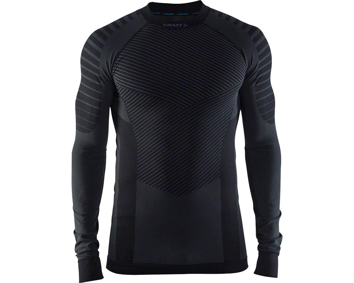 Active Intensity Men's Base Layer Crew Neck Long Sleeve Top: Black/Granite