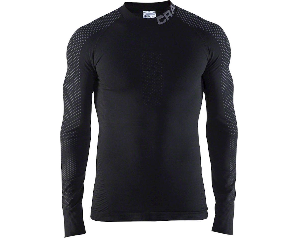 Warm Intensity Men's Base Layer Crew Neck Long Sleeve Top: Black/Granite X