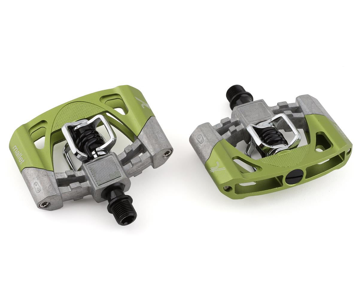 Crankbrothers Mallet 2 Pedals (Raw/Green w/ Black Spring)